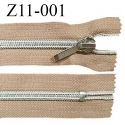 Fermeture zip 11 cm non séparable glissière argentée torsadée largeur 7 mm curseur métal couleur sable prix à l'unité