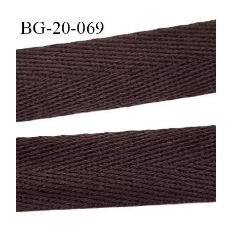 Biais sergé 20 mm  galon100 % coton couleur marron largeur 20 mm  souple et très doux prix au mètre