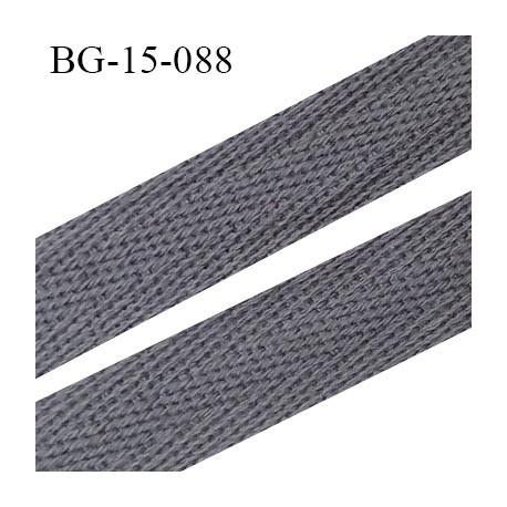 Biais sergé 15 mm galon 100 % coton couleur gris largeur 15 mm souple et très doux prix au mètre