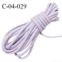 Cordon 4 mm en coton et synthétique très solide couleur lilas diamètre 4 mm prix au mètre