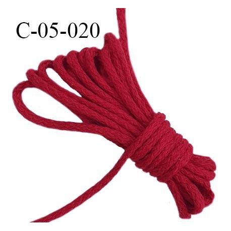 Cordon 5 mm en coton et synthétique très solide couleur rouge bordeaux diamètre 5 mm prix au mètre