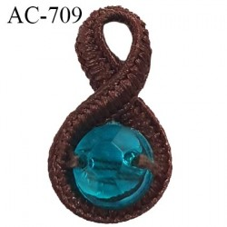 Noeud pendentif diamètre 10 mm lingerie couleur marron et strass bleu longueur 18 mm