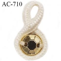 Noeud pendentif diamètre 10 mm lingerie couleur naturel et strass doré longueur 18 mm