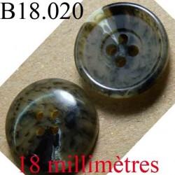 bouton 18 mm couleur vert maron  marbré brillant 4 trous diamètre 18 mm