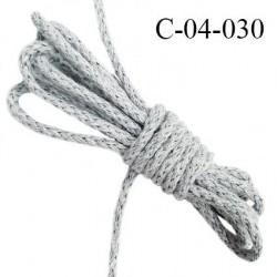 Cordon 4 mm en coton très solide couleur gris chiné clair diamètre 4 mm prix au mètre