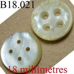 bouton 18 mm couleur nacré marbré brillant 4 trous diamètre 18 mm