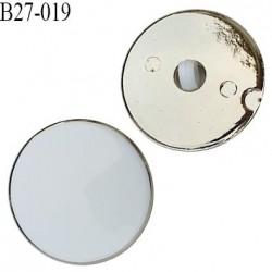 Bouton 27 mm en pvc couleur blanc sur socle couleur chrome accroche avec un anneau diamètre 27 mm épaisseur 8 mm prix à l'unité