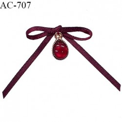 Noeud lingerie satin 30 mm couleur bordeaux avec pendentif couleur or et rubis prix à l'unité