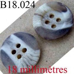 bouton 18 mm couleur marbré marron et beige 4 trous diamètre 18 mm