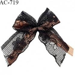Noeud lingerie 55 mm haut de gamme en dentelle couleur noir sur noeud en satin couleur marron glacé prix à l'unité