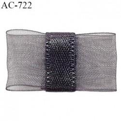 Noeud lingerie 24 mm haut de gamme en mousseline mate et centre satin couleur titane largeur 24 mm hauteur 14 mm prix à l'unité
