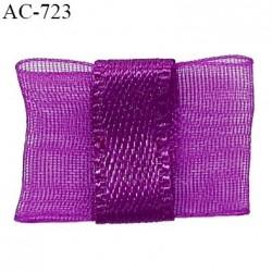Noeud lingerie 20 à 24 mm haut de gamme en mousseline mate et centre satin couleur fuchsia hauteur 14 mm prix à l'unité