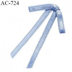 Noeud lingerie 28 mm satin haut de gamme boucles tombantes couleur bleu ciel largeur 28 mm hauteur 45 mm prix à l'unité