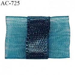 Noeud lingerie 20 mm haut de gamme en mousseline mate et centre satin couleur bleu vert hauteur 14 mm prix à l'unité