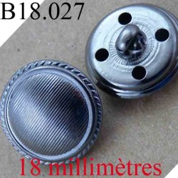 bouton 18 mm couleur chromé acier accroche avec un anneau ou 4 trous diamètre 18 mm