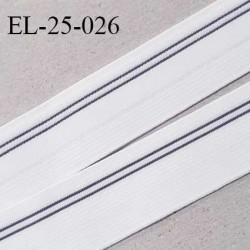 Elastique 24 mm couleur blanc avec  liseret gris largeur 24 mm prix au mètre