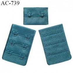 Agrafe 38 mm attache SG haut de gamme couleur bleu vert (vertigo) 3 rangées 2 crochets fabriqué en France prix à l'unité