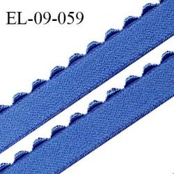 Elastique 9 mm lingerie haut de gamme couleur bleu myosotis fabriqué en France largeur 9 mm prix au mètre