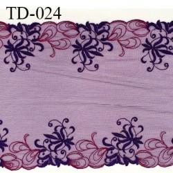 Dentelle broderie sur tulle 22 cm très haut de gamme largeur 22 cm couleur aubergine très belle prix pour 10 cm