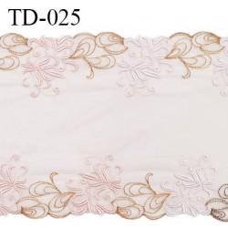 Dentelle broderie sur tulle 20 cm très haut de gamme largeur 20 cm couleur rose pâle très belle prix pour 10 cm