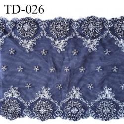 Dentelle broderie sur tulle 25 cm très haut de gamme largeur 25 cm couleur bleu astral très belle prix pour 10 cm