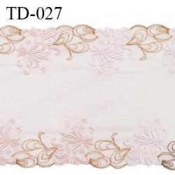 Dentelle broderie sur tulle 31 cm très haut de gamme largeur 31 cm couleur rose pâle très belle prix pour 10 cm
