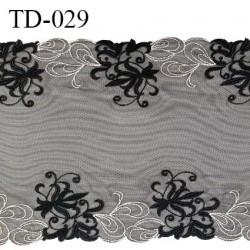 Dentelle broderie sur tulle 21 cm très haut de gamme largeur 21 cm couleur noir très belle prix pour 10 cm