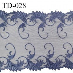 Dentelle broderie sur tulle 24 cm très haut de gamme largeur 24 cm couleur encre bleue très belle prix pour 10 cm