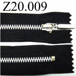 fermeture éclair  longueur 20 cm couleur noir non séparable zip métal  largeur 2.5 cm