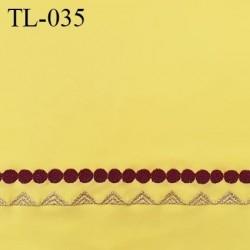 Tissu lycra 33 cm élasthanne spécial lingerie et maillot de bain couleur jaune avec bande brodée prix pour 10 cm