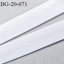 biais galon 20 mm pré plié  au dos 2 rabats de 10 mm  coton polyester couleur blanc largeur 20 mm prix au mètre