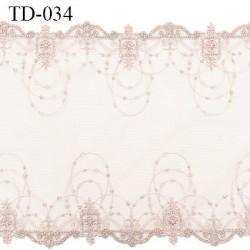 Dentelle broderie sur tulle 25 cm très haut de gamme largeur 25 cm couleur brume rosée très belle prix pour 10 cm