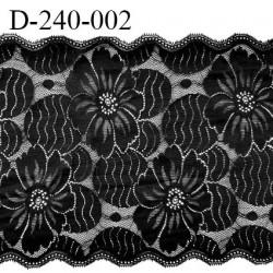 Dentelle 23.5 cm lycra brodée fleurs très haut de gamme couleur noir fabriqué en France bandes jacquard prix au mètre