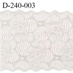 Dentelle 23.5 cm lycra brodée fleurs très haut de gamme couleur blush fabriqué en France bandes jacquard prix au mètre