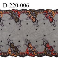 Dentelle broderie sur tulle 21.5 cm très haut de gamme largeur 21.5 cm couleur noir très belle prix au mètre