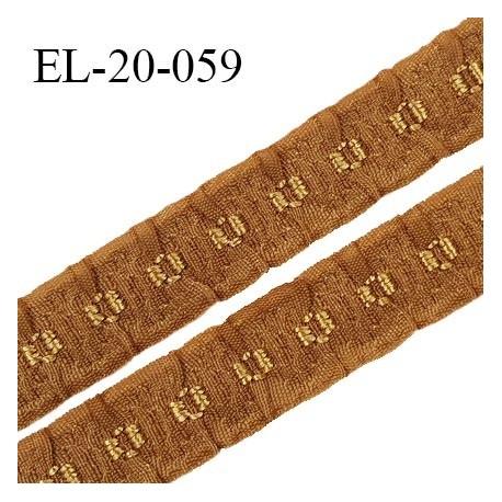 Elastique 19 mm froncé bretelle et lingerie couleur havane élasticité 40 % dessous très doux largeur 19 mm prix au mètre