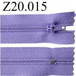 fermeture éclair longueur 20 cm couleur mauve non séparable zip nylon largeur 2.5 cm