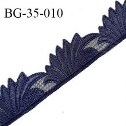 Décor ornement lingerie et bretelle ou autres broderie sur tulle couleur bleu nuit hauteur 35 mm prix au mètre