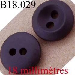 bouton 18 mm couleur marron très foncé 2 trous diamètre 18 mm