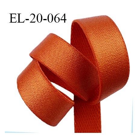 Elastique 19 mm bretelle et lingerie couleur orange cuivré brillant fabriqué en France pour une grande marque prix au mètre
