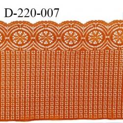 Dentelle 22 cm lycra brodée très haut de gamme couleur orange cuivré fabriqué en France bandes jacquard prix au mètre