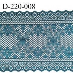 Dentelle 22 cm lycra brodée très haut de gamme largeur 22 centimètres couleur bleu vert (vertigo) très belle prix au mètre
