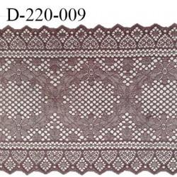 Dentelle 22 cm lycra brodée très haut de gamme largeur 22 centimètres couleur macchiato très belle prix au mètre