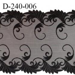 Dentelle broderie sur tulle 24 cm très haut de gamme largeur 24 cm couleur noir très belle prix pour un mètre