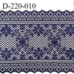Dentelle 22 cm lycra brodée très haut de gamme largeur 22 centimètres couleur bleu nuit très belle prix au mètre