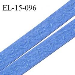 Elastique 15 mm anti glisse couleur bleu myosotis haut de gamme largeur 15 mm prix au mètre