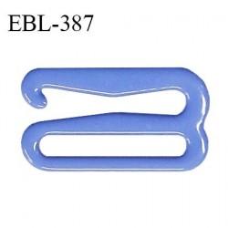 Crochet 15 mm de réglage bretelle soutien gorge en métal laqué couleur bleu myosotis brillant prix à l'unité