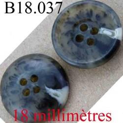 bouton  18 mm couleur noir vert kaki beige marbré 4 trous diamètre 18 mm