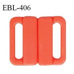 Boucle clip 20 mm attache réglette pvc spécial maillot de bain couleur orange nectarine haut de gamme prix à l'unité