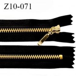 Fermeture 10 cm zip métal couleur noir et or non séparable longueur 10 cm largeur 2.8 cm glissière métal doré largeur 4.5 mm